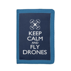 TriFold Nylon Wallet with Keep Calm and Fly Drones design