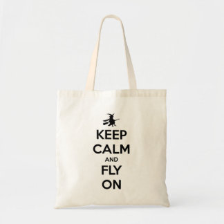 Keep Calm and Fly On Black Budget Tote Bag