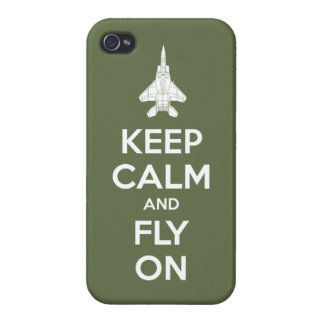 Keep Calm and Fly On (olive) iPhone 4/4S Cases