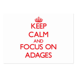 Keep calm and focus on ADAGES Large Business Cards (Pack Of 100)