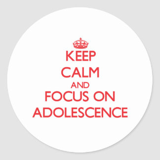 Keep calm and focus on ADOLESCENCE Round Stickers