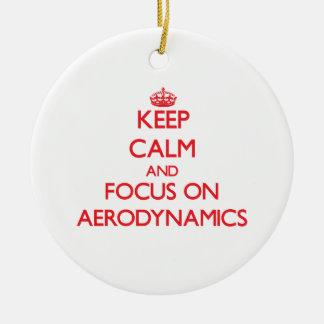 Keep calm and focus on AERODYNAMICS Double-Sided Ceramic Round Christmas Ornament