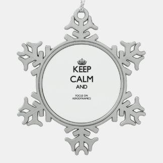 Keep Calm And Focus On Aerodynamics Snowflake Pewter Christmas Ornament