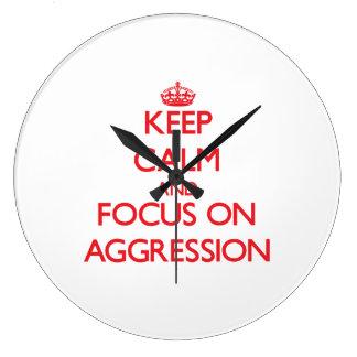 Keep calm and focus on AGGRESSION Wallclocks
