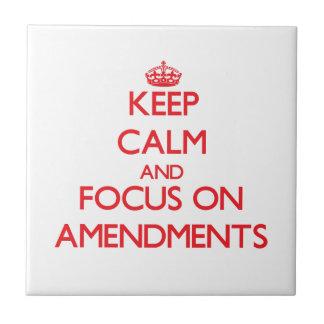 Keep calm and focus on AMENDMENTS Ceramic Tile