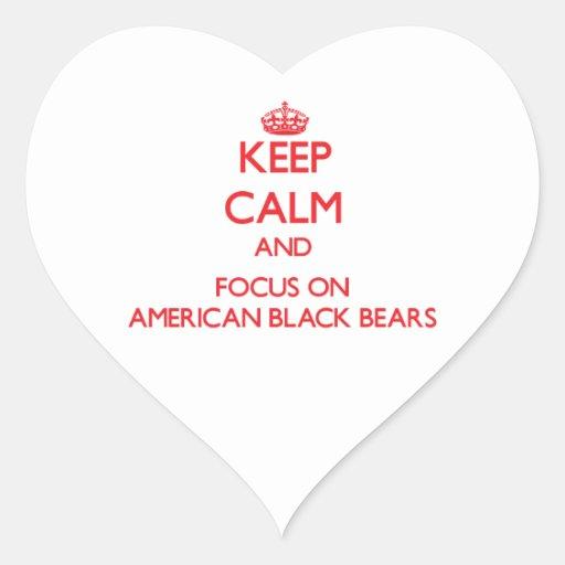 Keep calm and focus on American Black Bears Heart Sticker