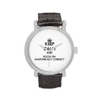 Keep Calm And Focus On Anatomically Correct Wrist Watch