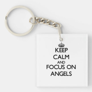 Keep Calm And Focus On Angels Single-Sided Square Acrylic Keychain