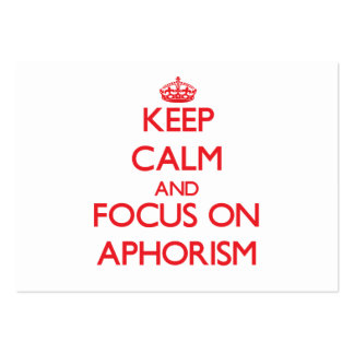 Keep calm and focus on APHORISM Large Business Cards (Pack Of 100)