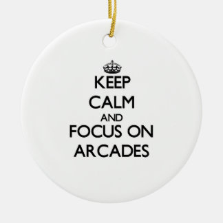 Keep Calm And Focus On Arcades Christmas Tree Ornaments