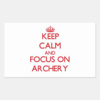Keep calm and focus on Archery Rectangular Sticker