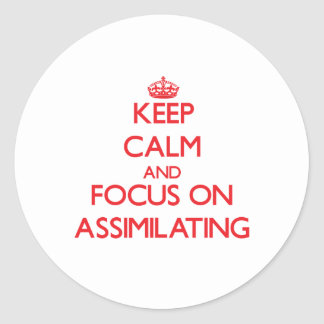 Keep calm and focus on ASSIMILATING Round Stickers