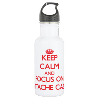 Keep calm and focus on ATTACHE CASES 18oz Water Bottle