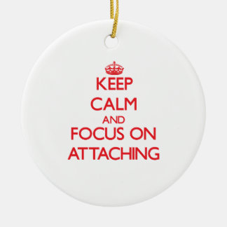 Keep calm and focus on ATTACHING Double-Sided Ceramic Round Christmas Ornament