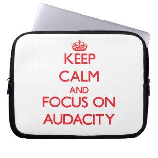 Keep calm and focus on AUDACITY Computer Sleeves