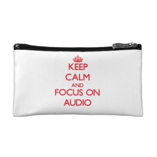 Keep calm and focus on AUDIO Cosmetic Bags