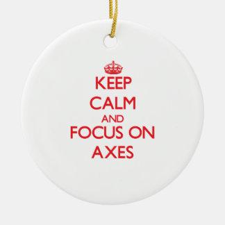 Keep calm and focus on AXES Christmas Tree Ornaments