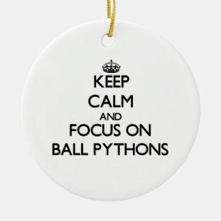 Keep calm and focus on Ball Pythons Christmas Tree Ornament