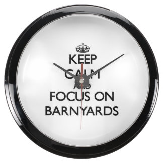 Keep Calm and focus on Barnyards Aqua Clocks
