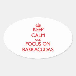 Keep Calm and focus on Barracudas Oval Sticker