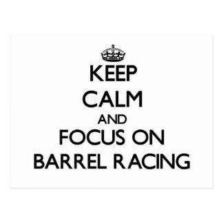 Keep Calm and focus on Barrel Racing Postcard