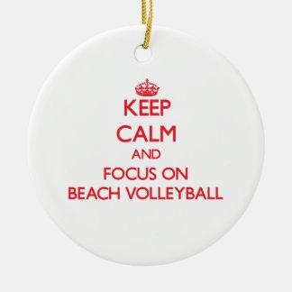 Keep calm and focus on Beach Volleyball Christmas Ornament