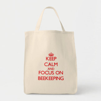 Keep calm and focus on Beekeeping Grocery Tote Bag