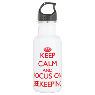 Keep calm and focus on Beekeeping 18oz Water Bottle