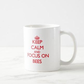 Keep Calm and focus on Bees Classic White Coffee Mug