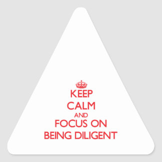 Keep Calm and focus on Being Diligent Triangle Stickers