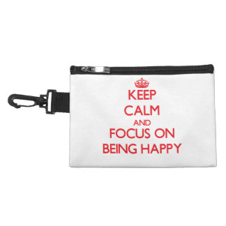 Keep Calm and focus on Being Happy Accessory Bags