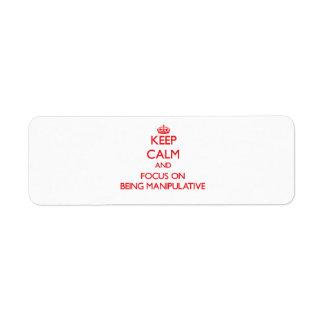 Keep Calm and focus on Being Manipulative Custom Return Address Labels
