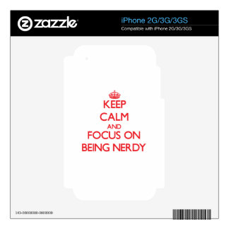 Keep Calm and focus on Being Nerdy iPhone 3GS Decal