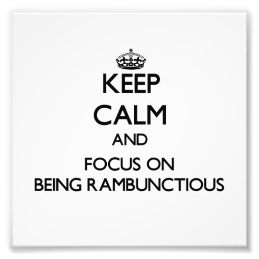 Keep Calm and focus on Being Rambunctious Photo Art