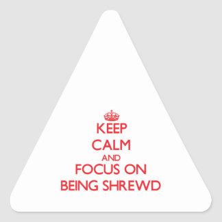 Keep Calm and focus on Being Shrewd Triangle Stickers