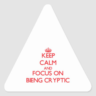 Keep Calm and focus on Bieng Cryptic Triangle Sticker