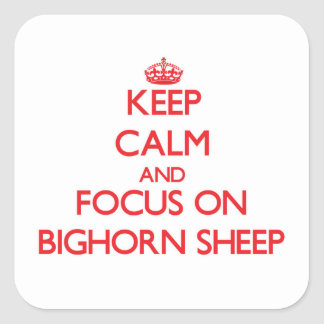 Keep Calm and focus on Bighorn Sheep Square Sticker