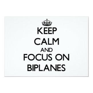 Keep Calm and focus on Biplanes Custom Invitations