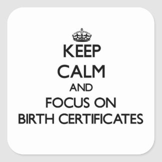 Keep Calm and focus on Birth Certificates Square Sticker