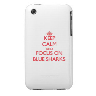 Keep calm and focus on Blue Sharks Case-Mate iPhone 3 Cases