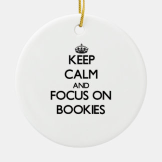 Keep Calm and focus on Bookies Double-Sided Ceramic Round Christmas Ornament