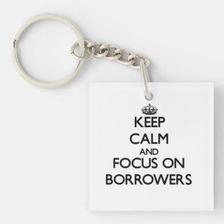 Keep Calm and focus on Borrowers Single-Sided Square Acrylic Keychain