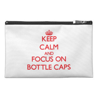 Keep calm and focus on Bottle Caps Travel Accessory Bags