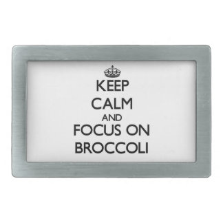Keep Calm and focus on Broccoli Rectangular Belt Buckle