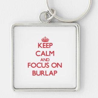 Keep Calm and focus on Burlap Keychains