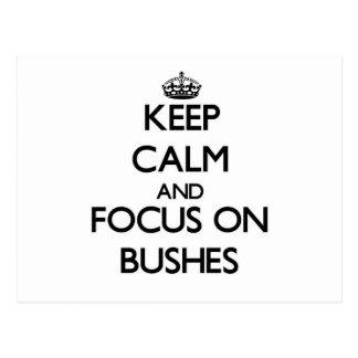 Keep Calm and focus on Bushes Post Cards