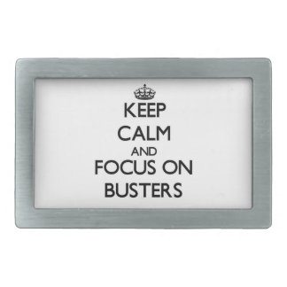 Keep Calm and focus on Busters Rectangular Belt Buckles