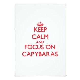 Keep calm and focus on Capybaras 5x7 Paper Invitation Card