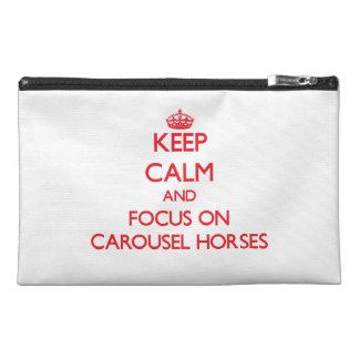 Keep Calm and focus on Carousel Horses Travel Accessory Bag