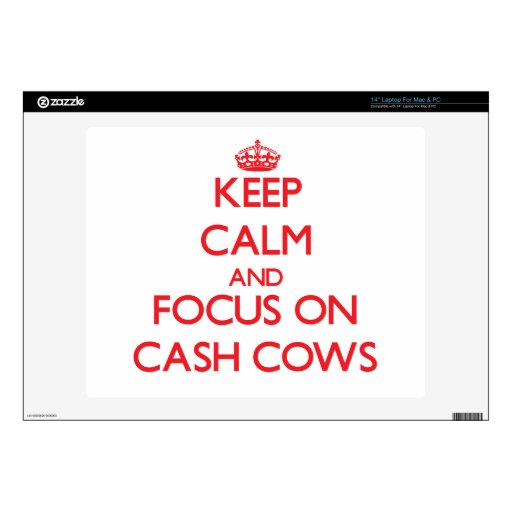 "Keep Calm and focus on Cash Cows 14"" Laptop Skin"